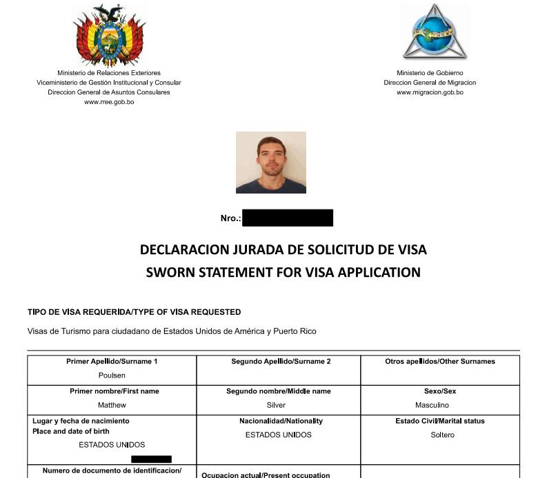 This website also has a step-by-step guide that walks you through the steps of completing the Bolivian visa application