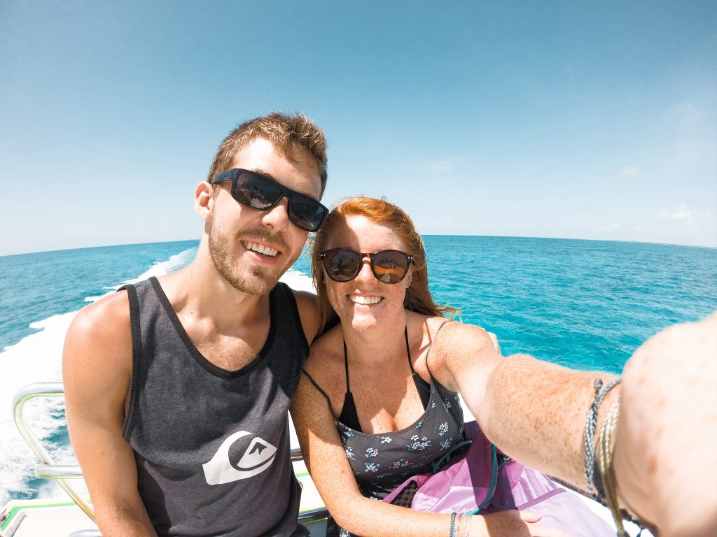 Taking a ride on the water taxi on the way to Caye Caulker