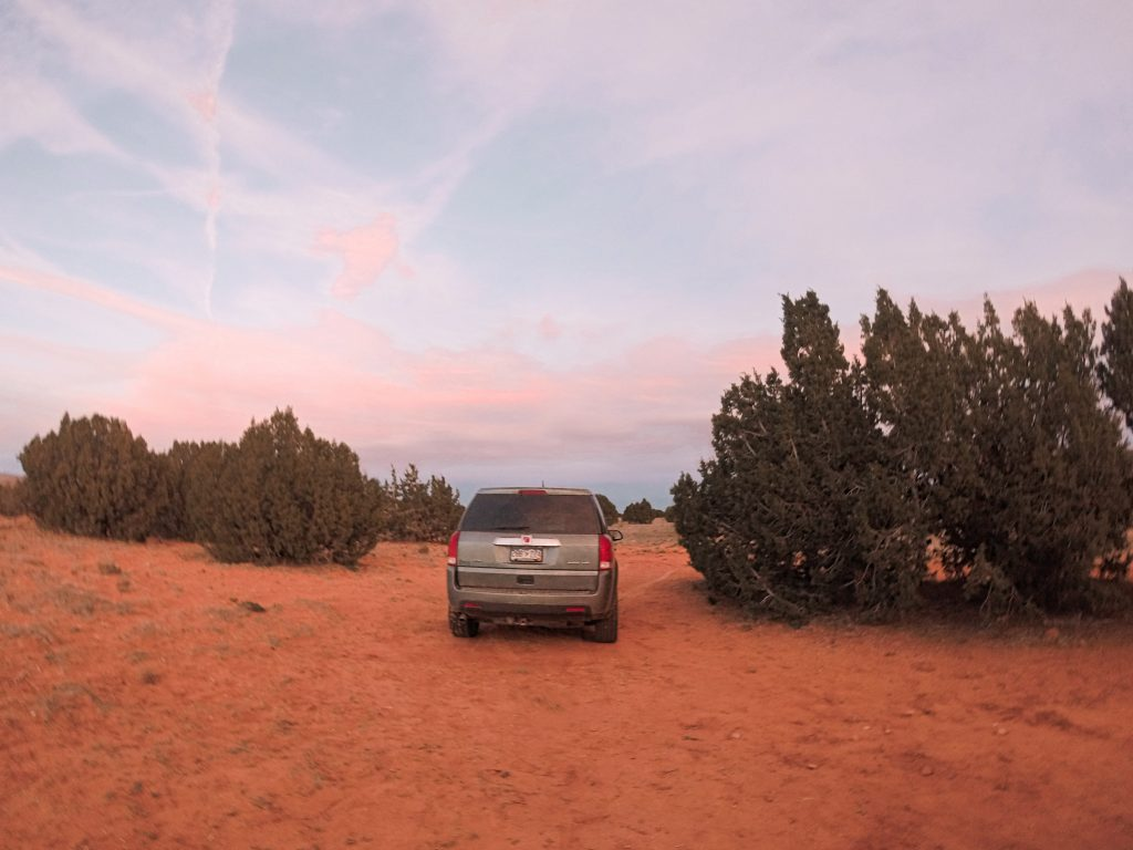 Sunset at our primitive camp spot up Hole-in-the-Rock Road