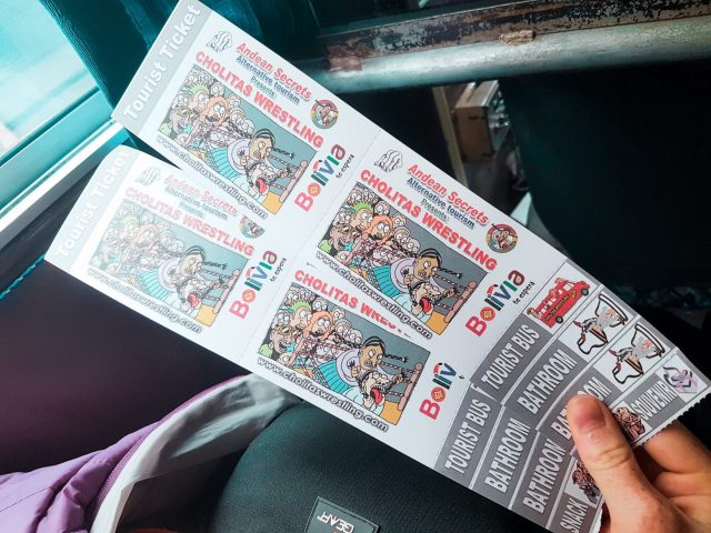 Cholitas Wrestling tickets with stubs for the bus ride, bathrooms, snack, drink, and souvenir
