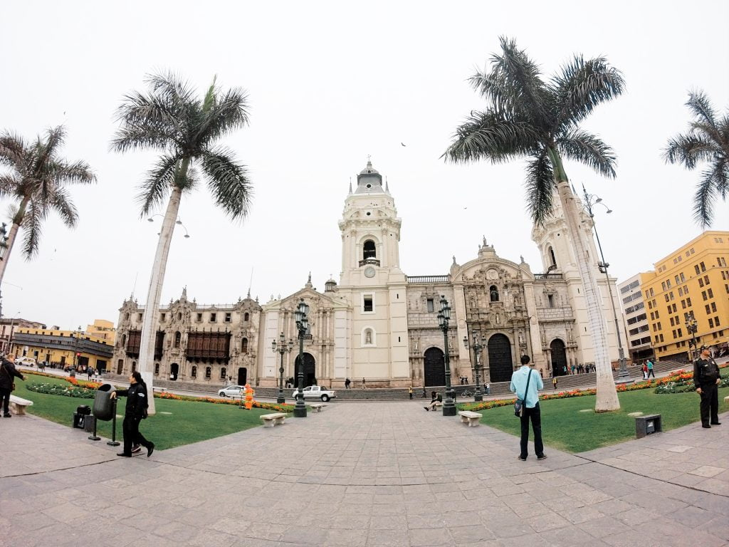 Beautiful colonial churches surround the Plaza de Armas in the center of Lima