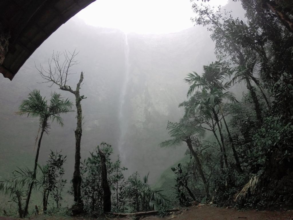Gocta Waterfall barely visible through the torrential downpour