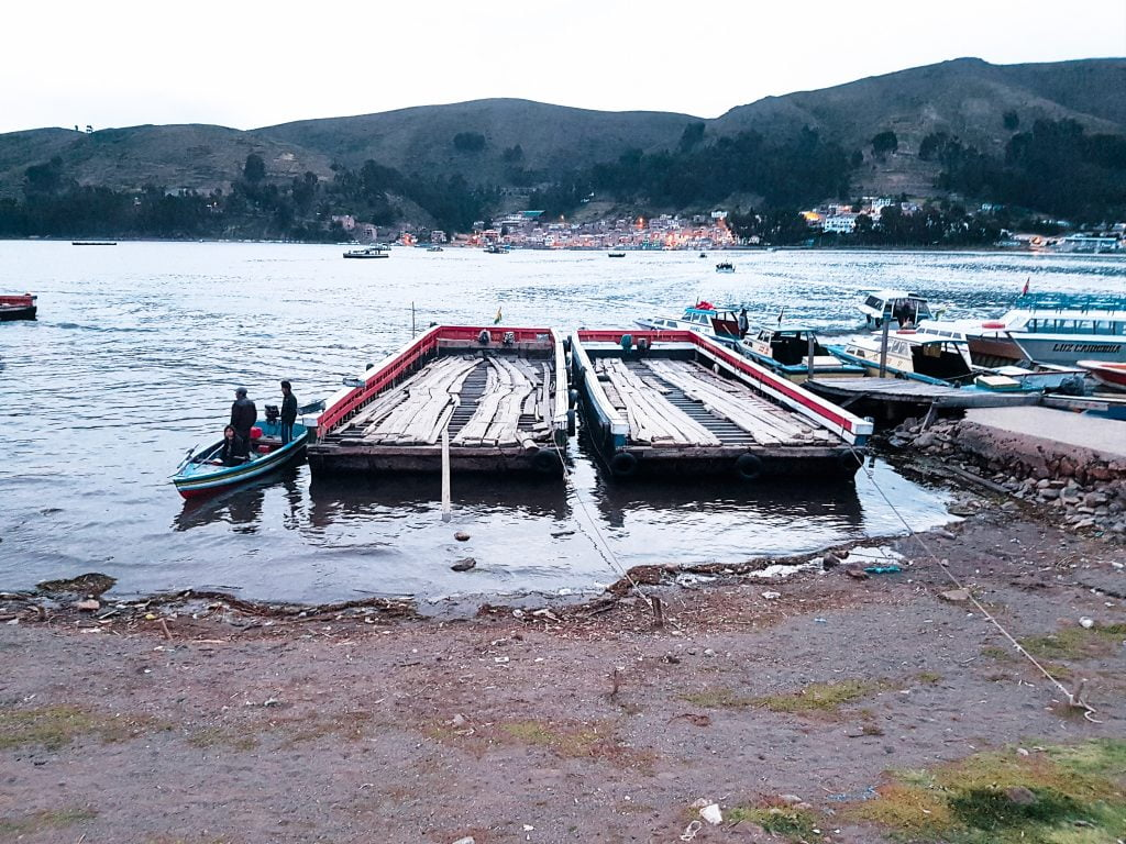The boats and barges used to cross Lake Titicaca