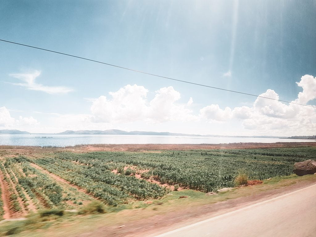 Passing Lake Titicaca on the Peruvian side of the border
