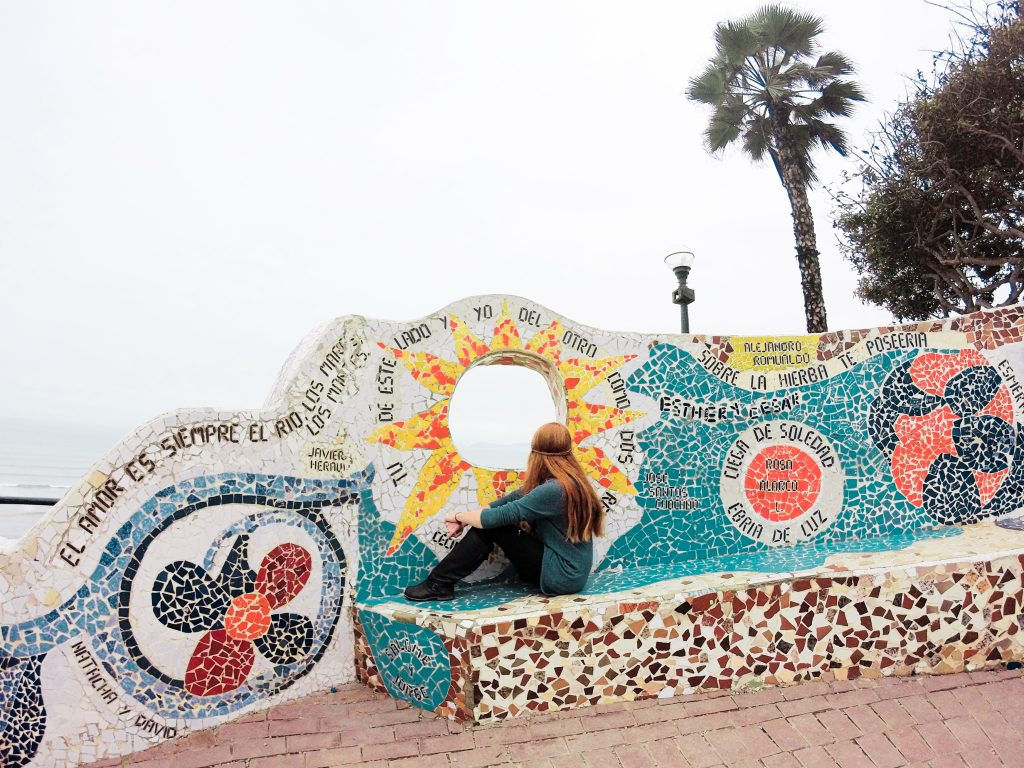 The colorful Parque del Amor sits at the edge of Miraflores, looking over the ocean below