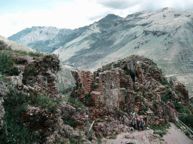 Standing near one of the watch towers at the Pisac Ruins