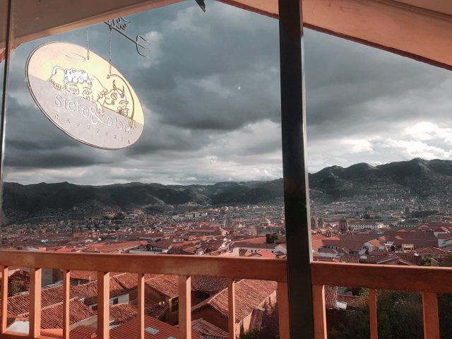 Enjoying the views of Cusco from Cafe Siete & Siete