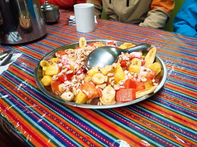 The breakfast on the Rainbow Mountain tour was much better than we expected