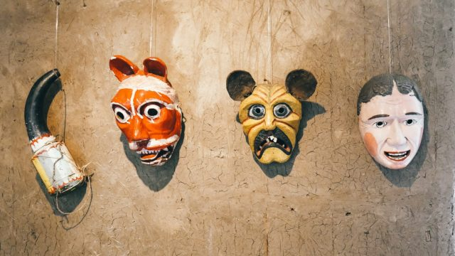 Unique masks carved from wood