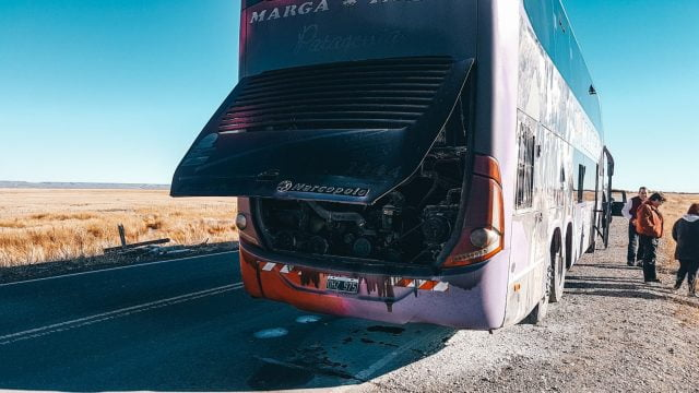 The charred rear of our bus. This was probably our scariest South America bus moment