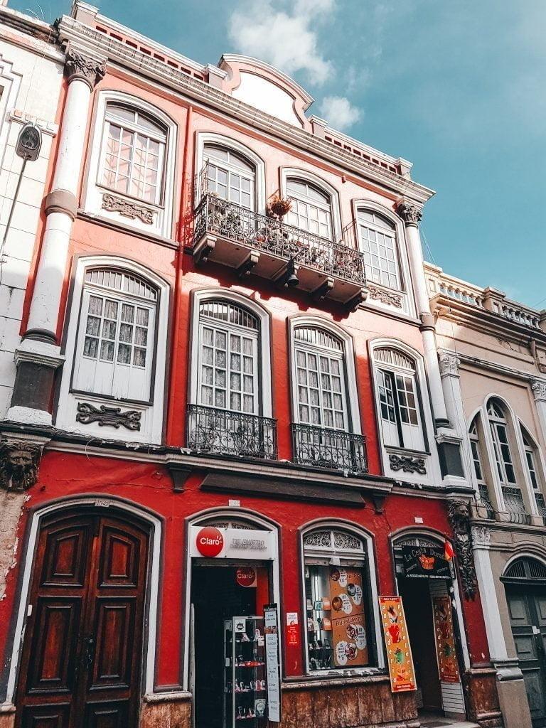 The beautiful colonial buildings of Cuenca, Ecuador