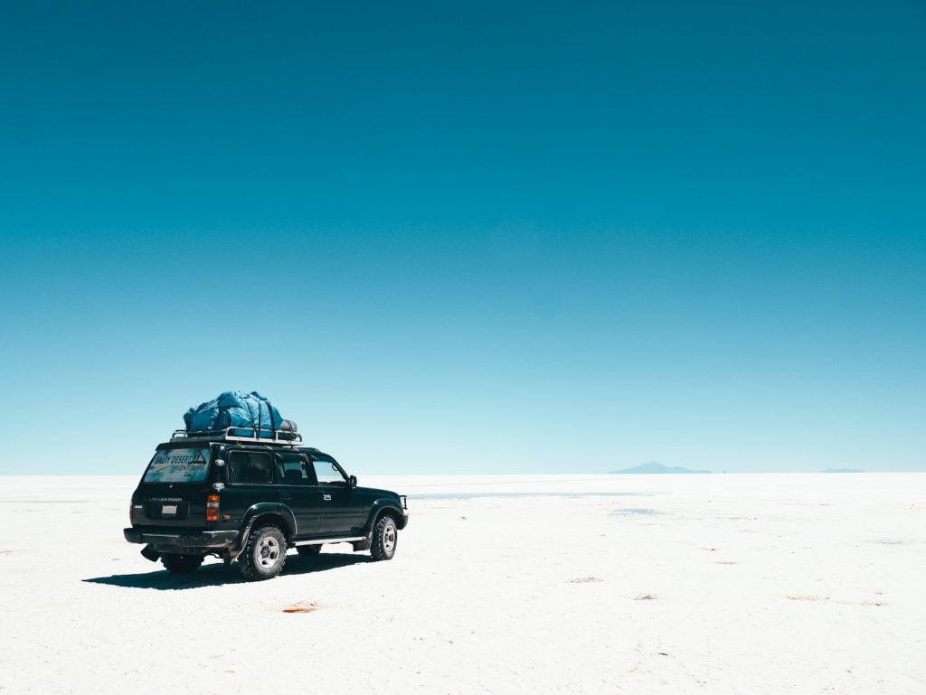 Our Land Cruiser ready to cross the long expanse of salt