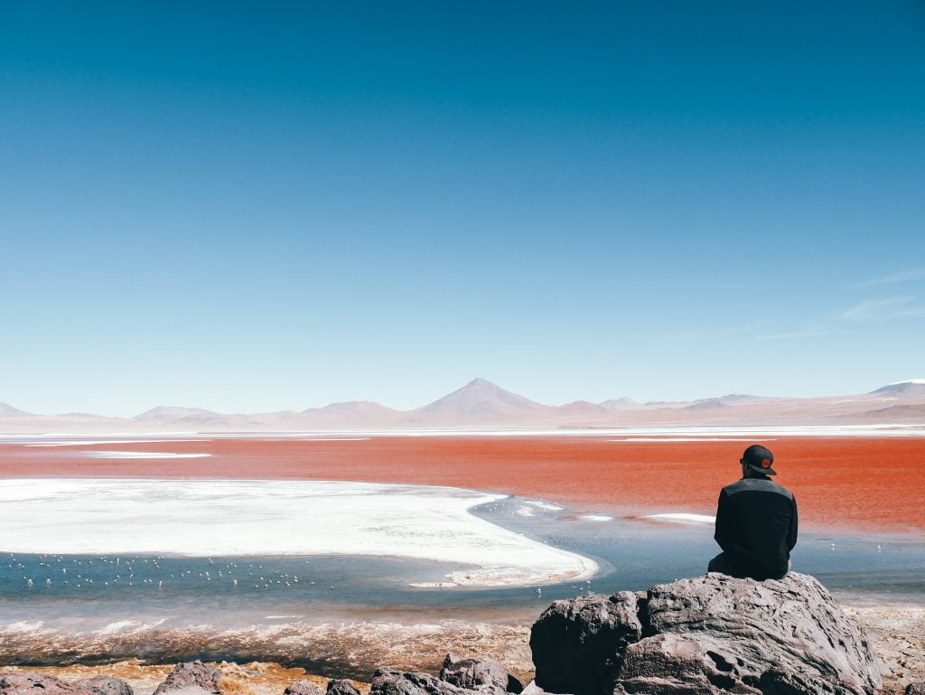The incredibly beautiful, but very windy Laguna Colorada