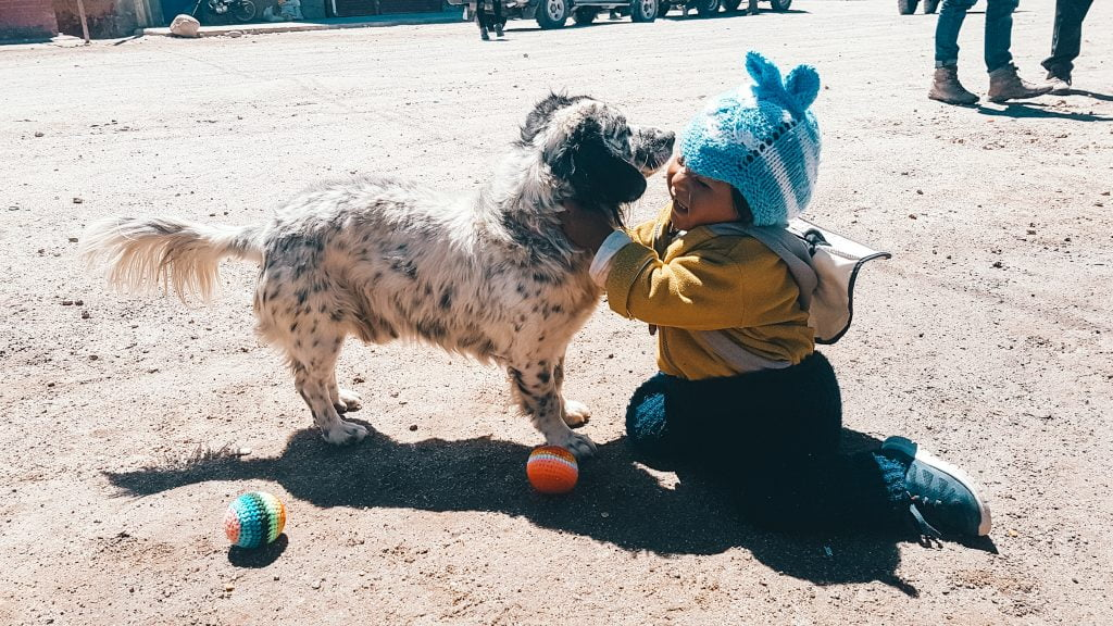 Playing with kids and pups in the streets of Uyuni
