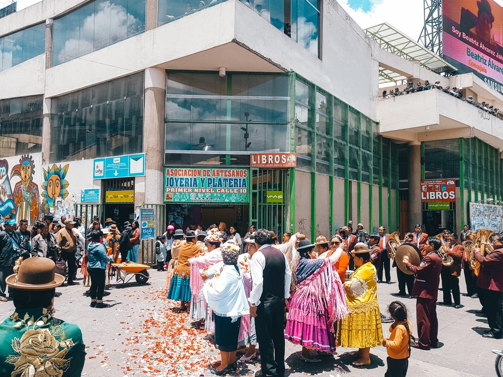 Bolivian celebration in the streets