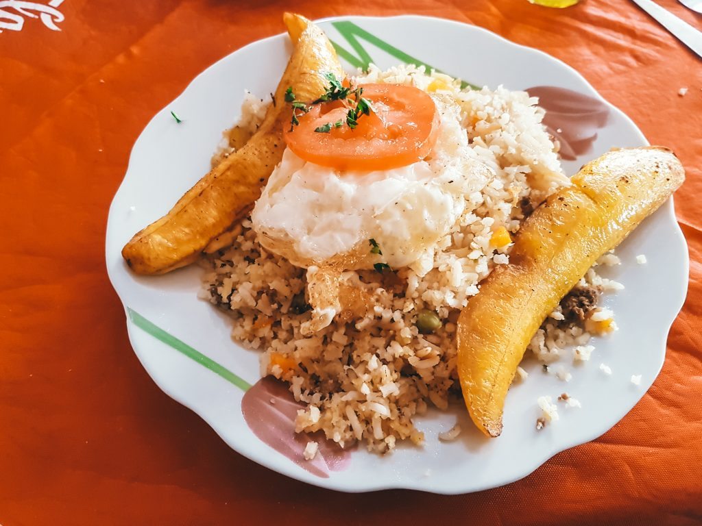 You'll commonly see rice, plantains, and fried egg as a part of local dishes in Bolivia