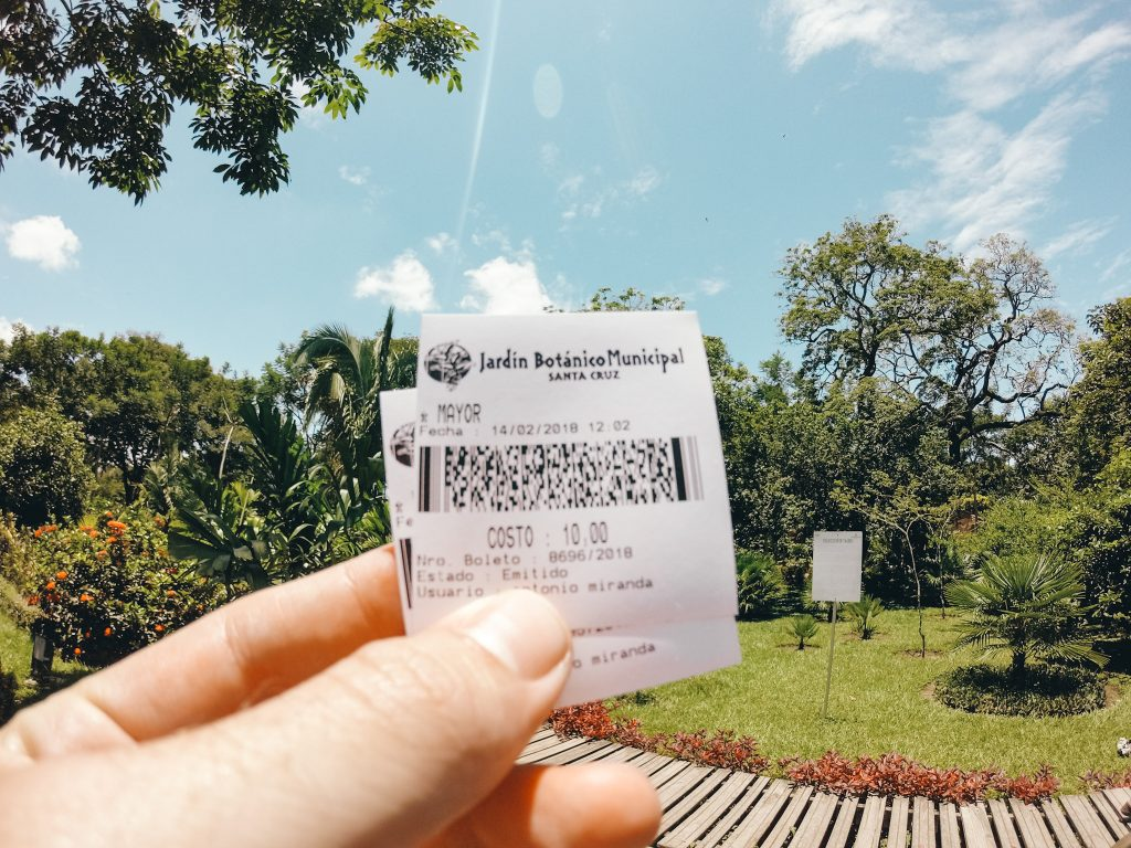 Entry tickets for the botanical gardens in Santa Cruz, Bolivia