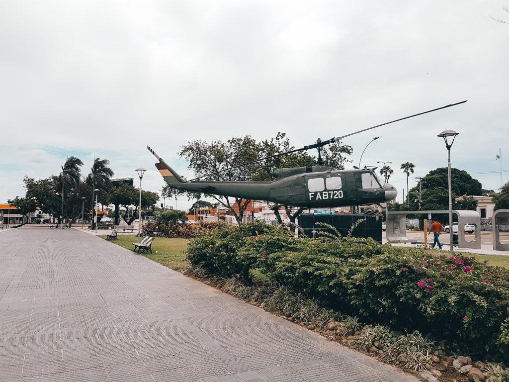 A helicopter on display in Parque Aeronautico El Trompillo
