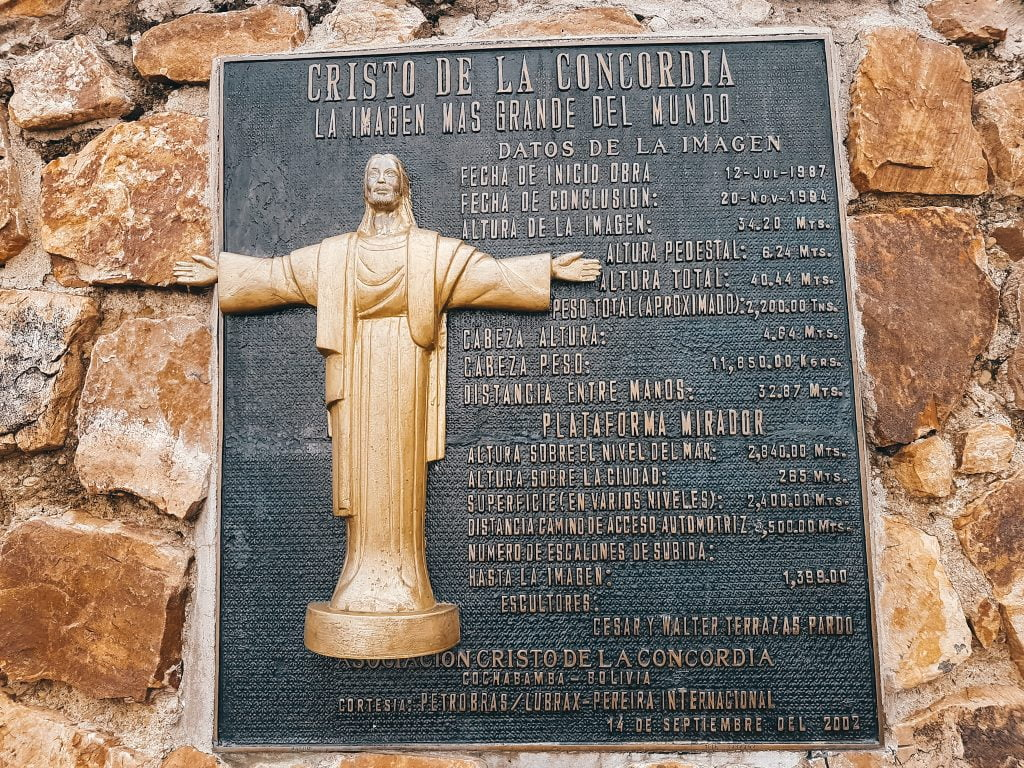 A plaque showing details on Cristo de la Concordia