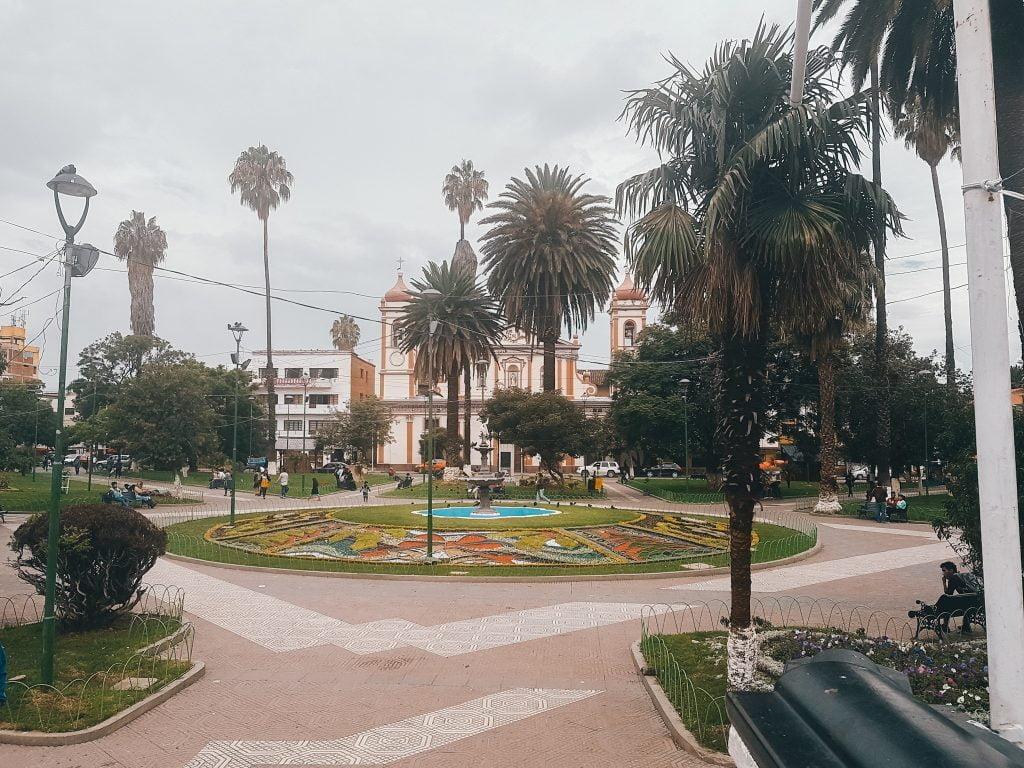 One of the many beautiful plazas in Cochabamba, Bolivia