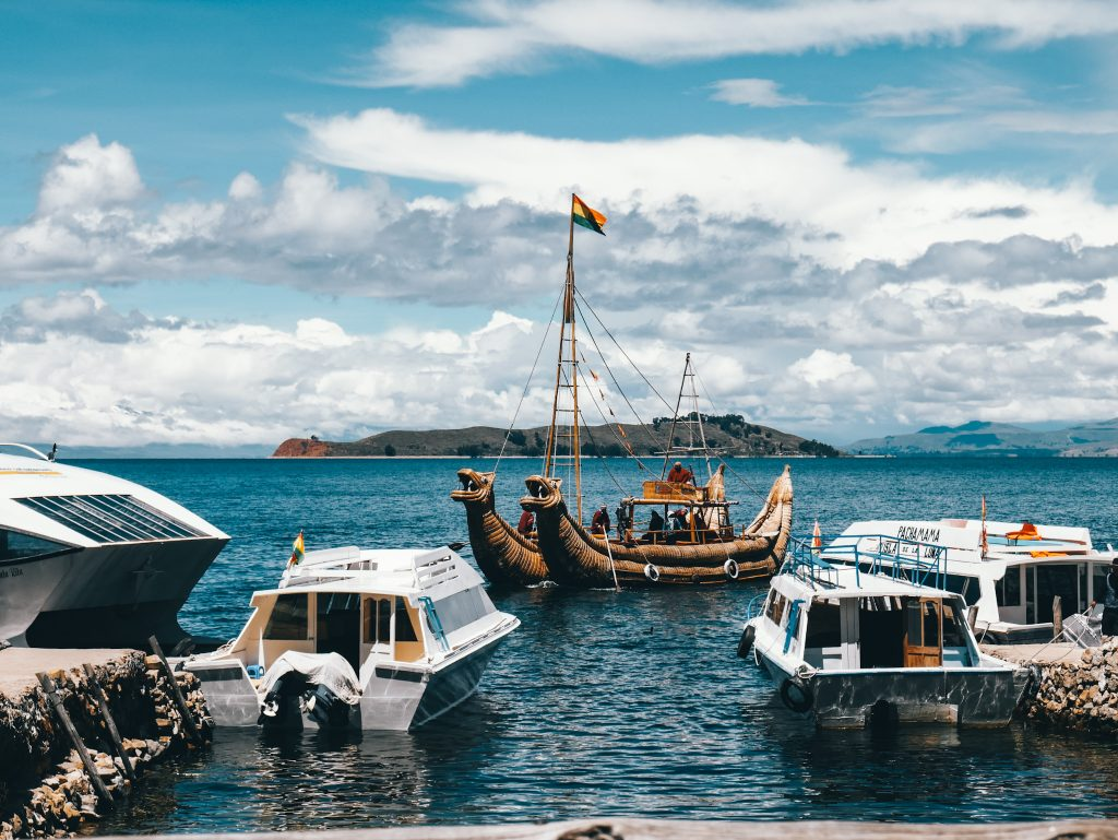 A mix of modern and traditional life seen in the boats used around the island