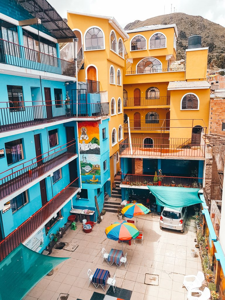 Our colorful hostel in Copacabana
