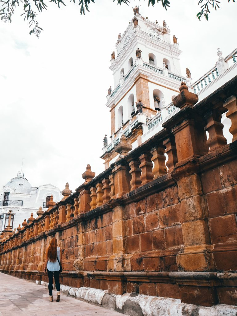 The beautiful cathedral in the center of Sucre