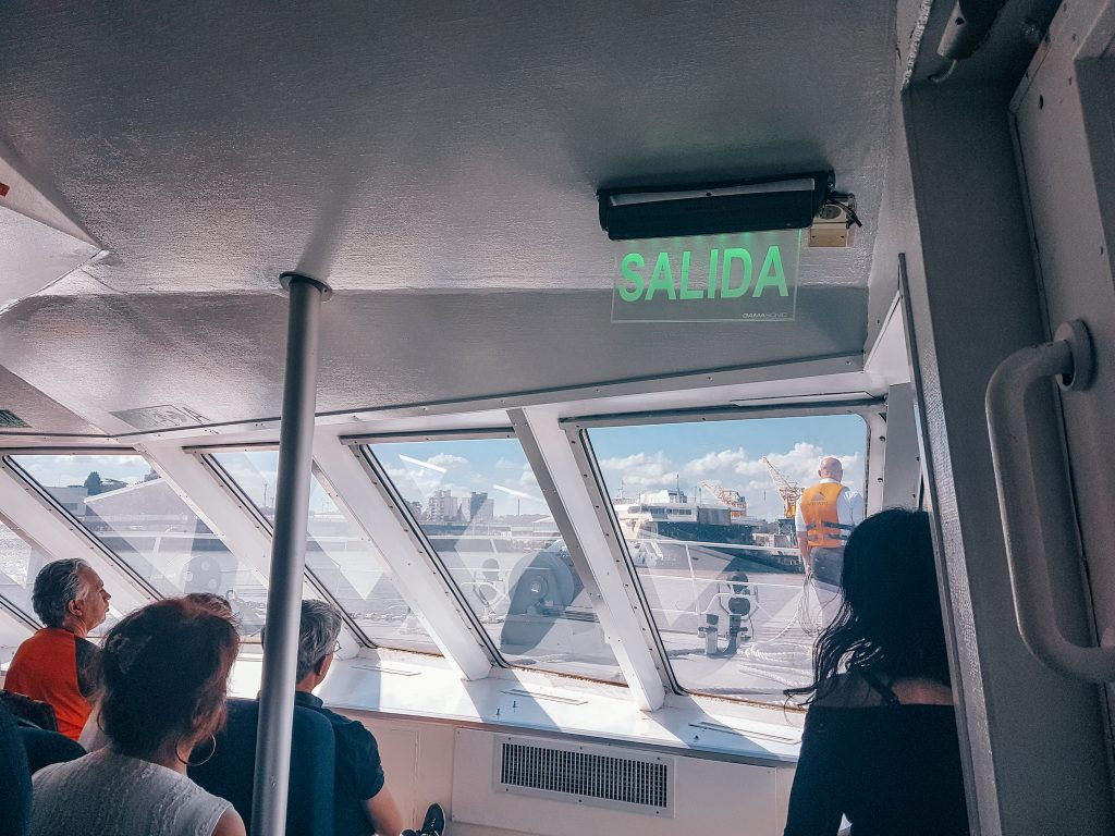 Looking out the front of the ferry