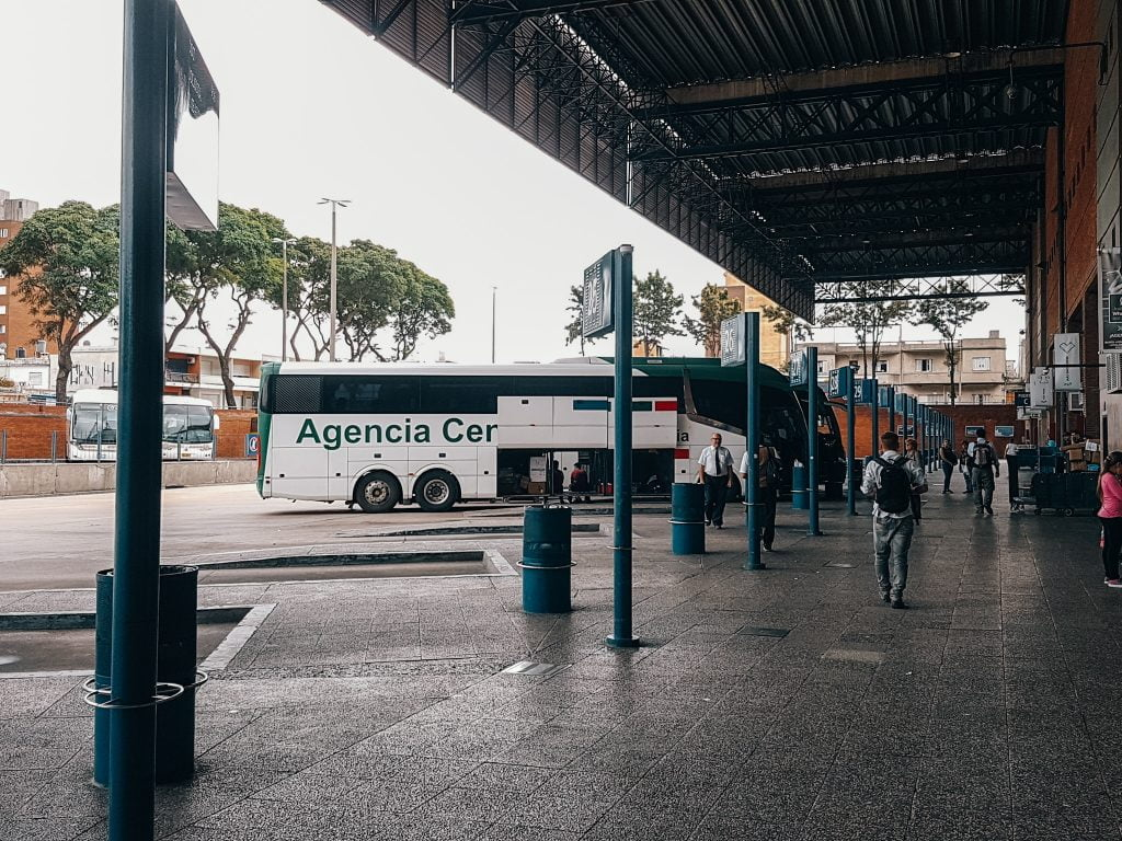 Waiting at the Montevideo bus station to catch a ride to Colonia del Sacramento