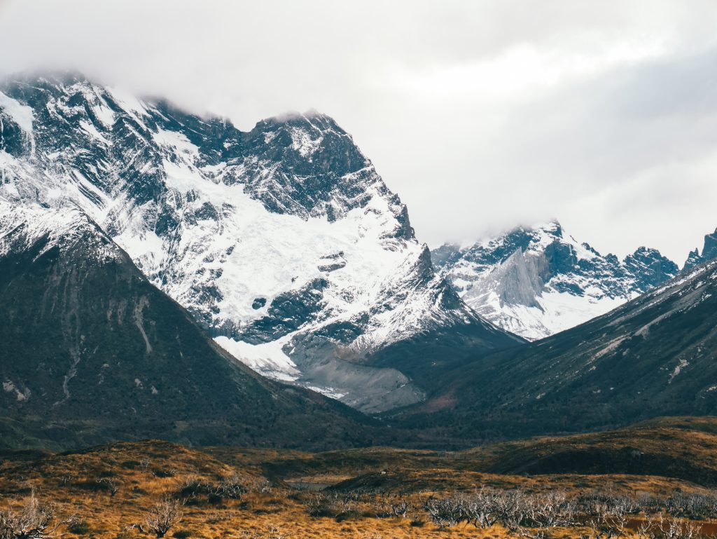 Snowy peaks towering above the valley